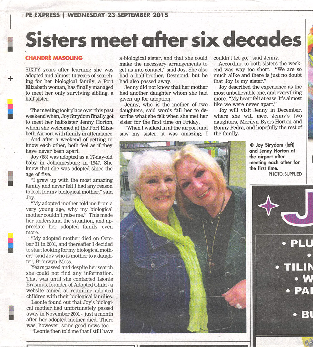 Sisters meet after six decades article